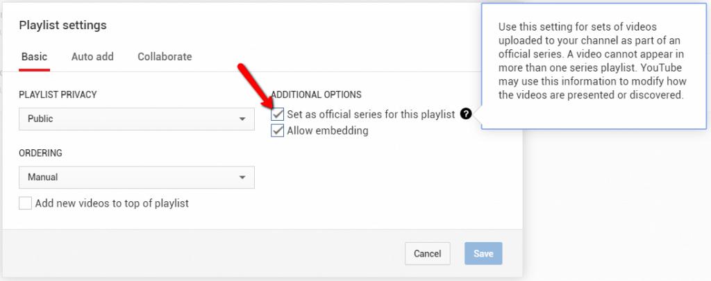 Come impostare una Playlist come la serie ufficiale di un video YouTube