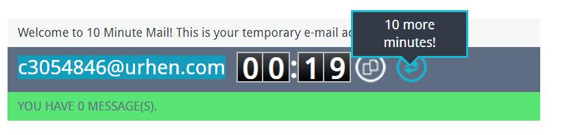 L'indirizzo creato con 10minutemail può essere prorogato di altri 10 minuti