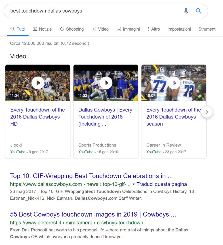 Esempio di video indicizzati tra i risultati di ricerca di Google