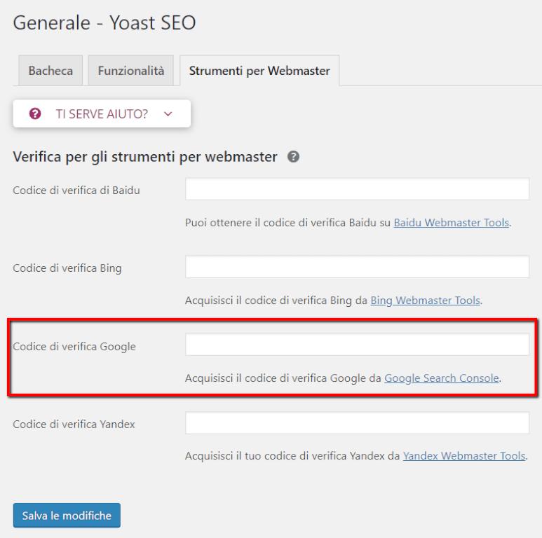 Google Search Console ed il supporto per la verifica fornito da Yoast SEO in WordPress