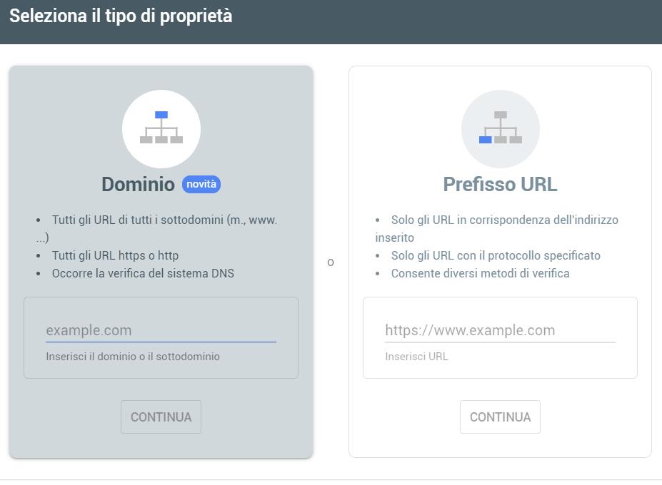 Google Search Console: modalità di registrazione della proprietà