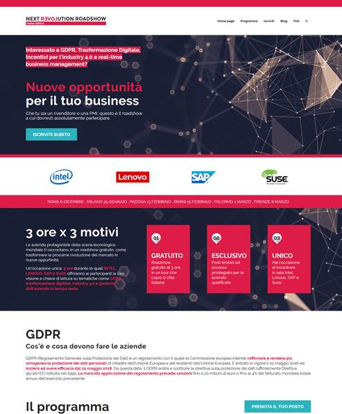 Home page del minisito dedicato al progetto next revolution roadshow