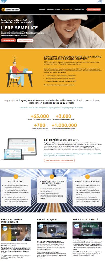 landing page dedicata al prodotto sap business one del progetto #credialoro