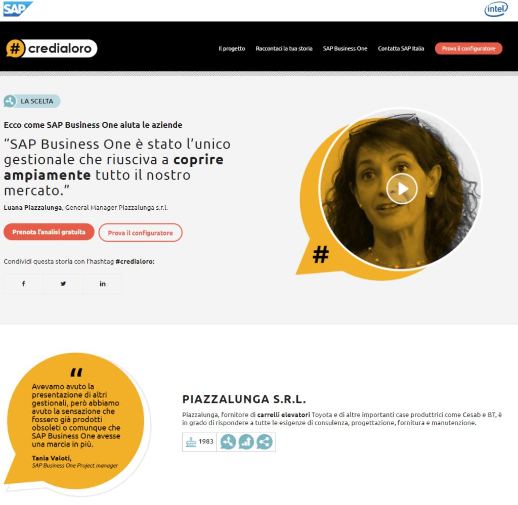 seconda pagina di atterraggio del progetto #credialoro, dedicata ad una storia di una pmi
