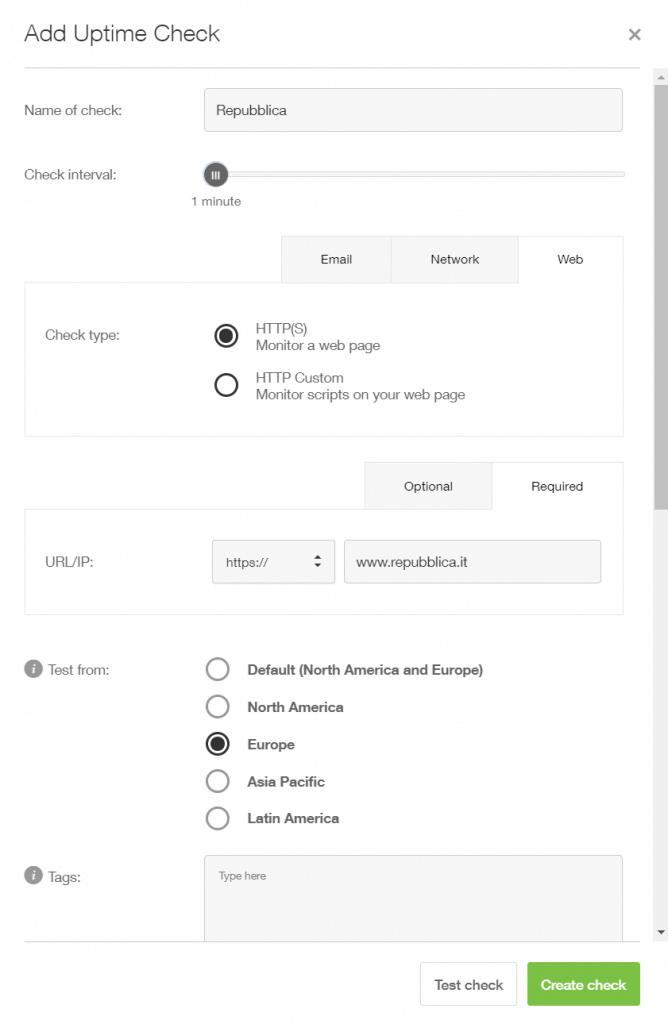 Esempio di configurazione di un Check in pingdom