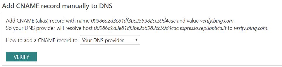 Per accedere ai dati di Bing Webmaster Tools puoi modificare il DNS