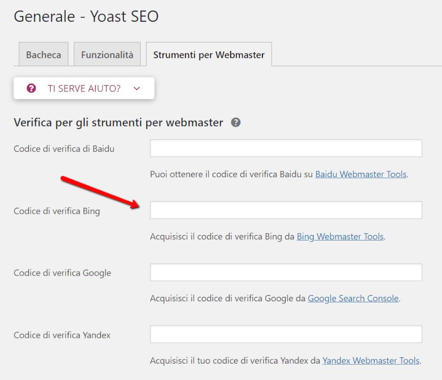 Integrare Bing Webmaster Tools con il codice di verifica Bing tramite Yoast SEO