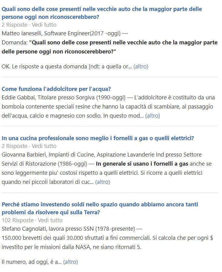 Esempi di domande su Quora
