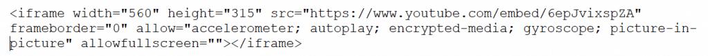il codice classico per l'integrazione dei video sul sito web, non conforme alla cookie law