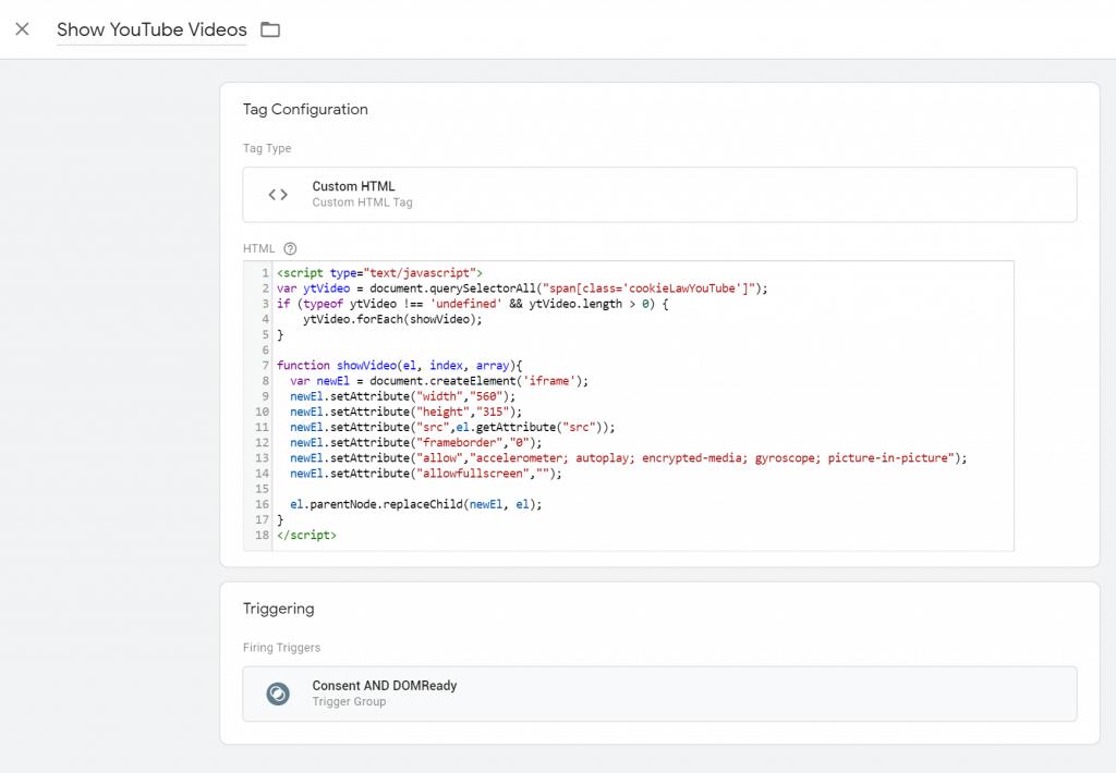 ecco il codice custom HTML per l'inserimento del video