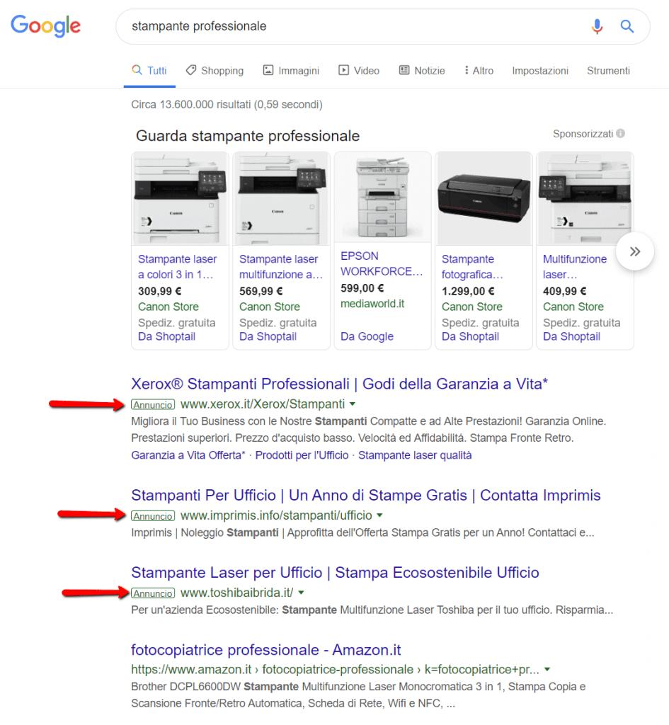 esempio di annunci sponsorizzati su Google Ads