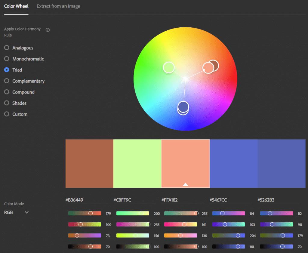 La color wheel di Adobe Color con la quale puoi impostare diverse combinazioni di colore
