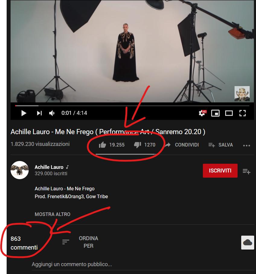 Dettaglio di un video YouTube con Mi Piace, Non Mi Piace e Commenti...