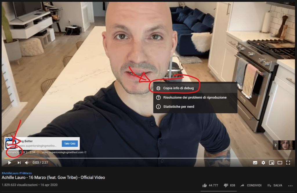 Una pubblicità su YouTube e l'indicazione di come poter accedere al video originale, per conoscere il numero di visualizzazioni
