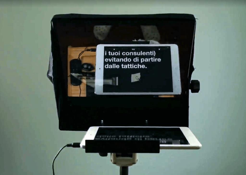 vista frontale del teleprompter