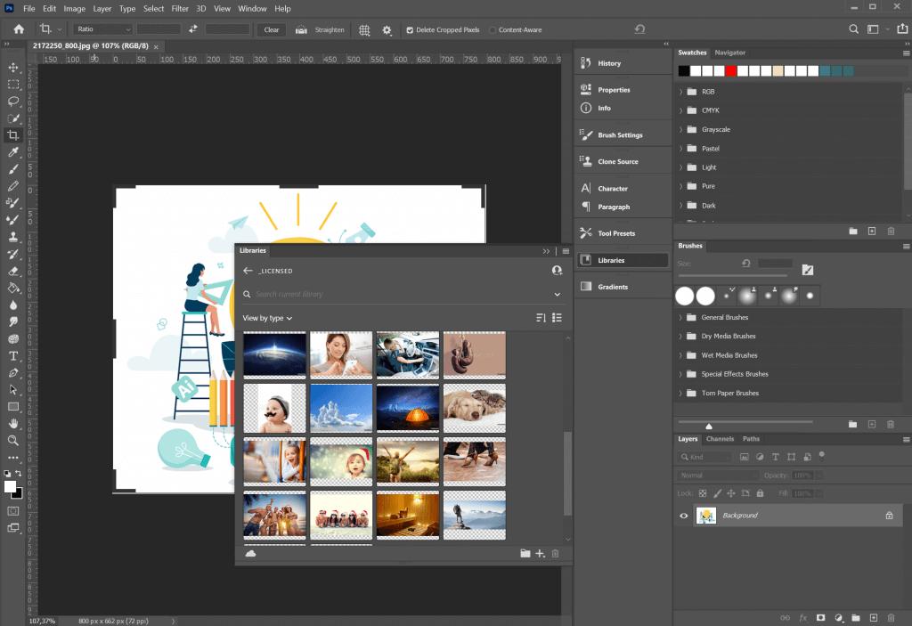 Le immagini di Adobe Stock selezionate direttamente dall'interno di Adobe Photoshop