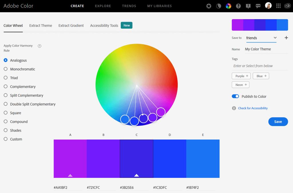 Integrazione tra Adobe Color e Adobe Creative Cloud