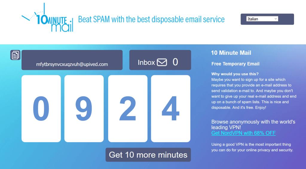 la nuova interfaccia di 10minutemail... resta sempre tutto molto semplice