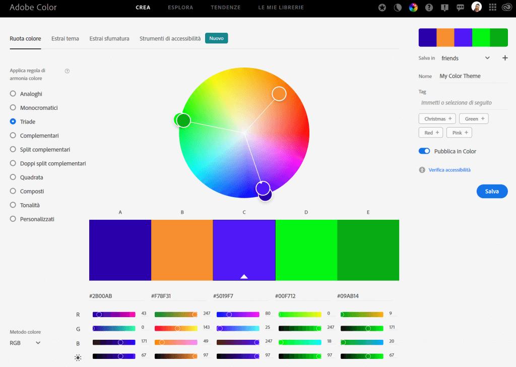 L'interfaccia di Adobe Color è semplice e intuitiva