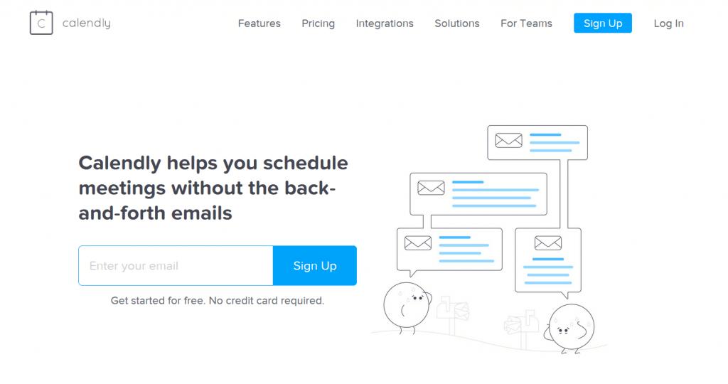 la home page di Calendly
