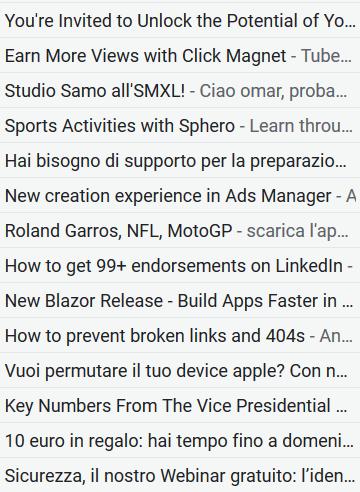 Esempi di oggetti di email